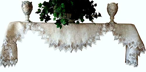 Mantel Shelf Scarf Earth Tones Neutral 90 Inch Mantle Doily Lace Dresser Scarf Runner