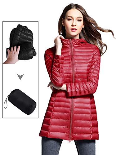 Sunseen Women's Lightweight Thin Puffer Jacket Hooded Packable Down Coat Spring Slim Outdoor Sports Travel Parka ()