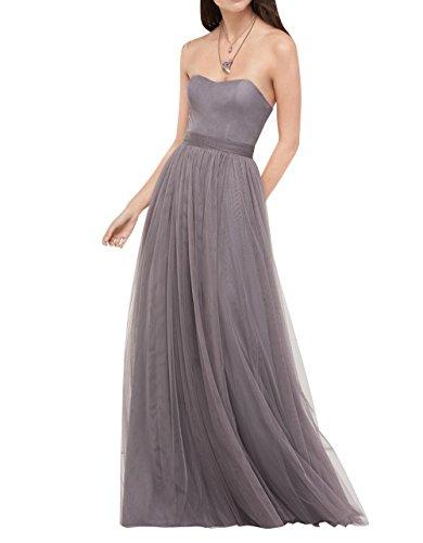 Abendkleider Tuell Brau La Damen Lang Traegerlos mia Partykleider Grau Linie Ballkleider A Brautjungfernkleider Herzausschnitt q0w6Bw