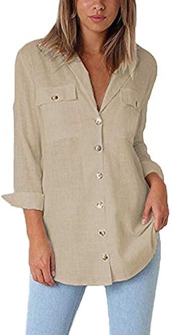 Lunji Camisa de Manga Larga enrollada Mujer - Blusa de Oficina con Bolsillos Sueltos con Bolsillos (X-Large, Amarillo marrón): Amazon.es: Ropa y accesorios