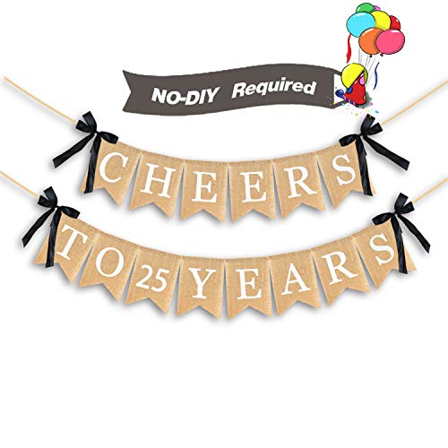 AERZETIX Cheers to 25 Years Burlap Bunting Banner Happy 25 Years Old Birthday 25th Anniversary Party Decorations (Birthday Cake For 25 Year Old Boy)