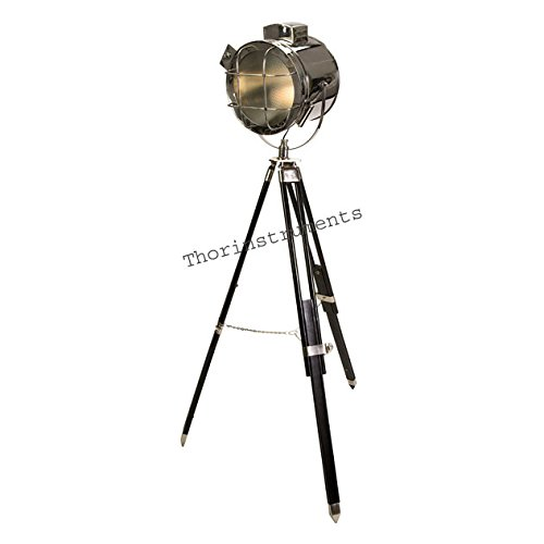 Vintage Movie Shoot Solid Steel Spot Searchlight Stage Light Black Wood Tripod Floor lamp by THORINSTRUMENTS