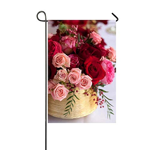 DongGan Garden Flag Roses Design Berries Wine Glasses Table 12x18 Inches(Without Flagpole)
