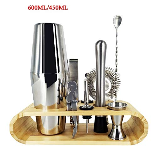 - Crayon Shine - Boston Bartending Kit Cocktail Shaker Set Shakers Stainless Steel 11-Piece Bar Tool Set with Stylish Bamboo Stand