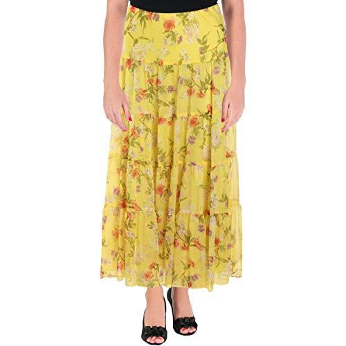 LAUREN RALPH LAUREN Womens Moriah Floral Print Long Maxi Skirt Yellow S - Lauren Print Ralph Skirt
