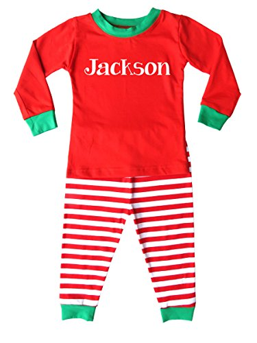 Personalized Custom Holiday Christmas Red & White Striped Pajamas for Babies, Toddlers, Big Kids (8, Red & White with Green Trim) (Personalized Christmas Pajamas)