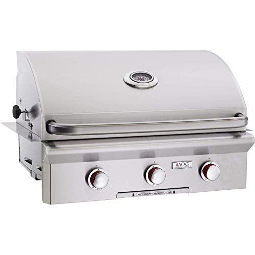 (AOG American Outdoor Grill T-Series 30-Inch 3-Burner Built-in Propane Gas Grill - 30PBT-00SP)