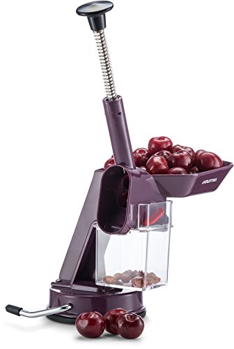 Gourmia GCC9630 Cherry Pitter and Corer - Quickly Removes Pits from Cherries - Plunger Piston, Suction Cup No Skid Base, Waste Bin - BPA Free, Dishwasher Safe