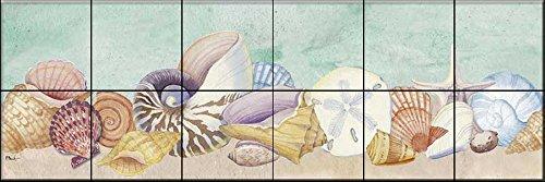 Ceramic Tile Mural - Pastel Shell Border - by Paul Brent - Kitchen backsplash/Bathroom Shower