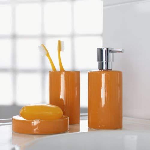 Colore Spirella Arancione Set di 4 portasapone in Ceramica