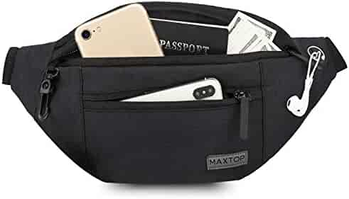 Fanny Pack for Men Women Waist Pack Bag with Headphone Jack and 3-Zipper Pockets Adjustable Straps