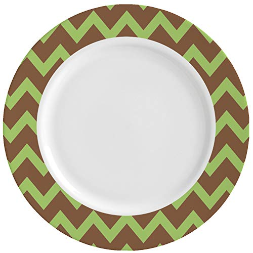 Green & Brown Toile & Chevron Ceramic Dinner Plates (Set of 4) (Personalized) (Brown Toile Plates)