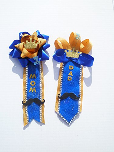 Royal Prince Baby Shower Themed Corsage for Mom and Dad To Be (Royal Blue &Gold) ()