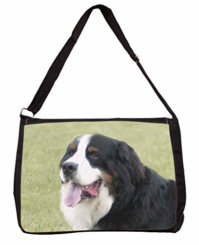 Bernese Mountain Dog Large 16 Black School Laptop Shoulder Bag