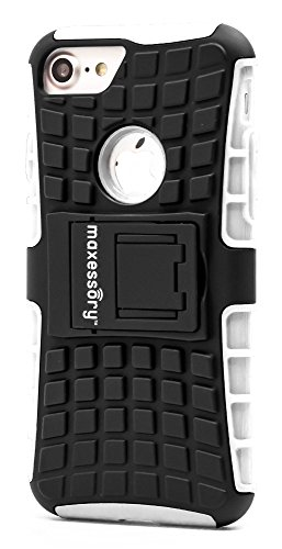 (iPhone 7 Case, iPhone 8 (4.7 inch) Case, Maxessory White Offroad Shock-Proof Rugged Dual-Layer Armor Rigid Ultra-Slim Kickstand Protective Hard Tough Hybrid Phone Cover Shell)
