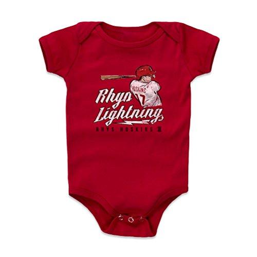 - 500 LEVEL Rhys Hoskins Baby Clothes, Onesie, Creeper, Bodysuit 6-12 Months Red - Philadelphia Baseball Baby Clothes - Rhys Hoskins Lightning W WHT