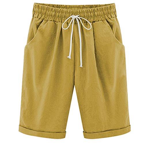 XinDao Women's Outdoor Drawstring Elastic Waist Casual Comfy Bermuda Plus Size Hiking Shorts Turmeric US 2XL/Asia 7XL