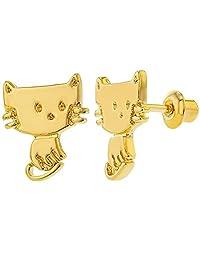 18k Gold Plated Cat Kitten Safety Screw Back Earrings for Kids Little Girls