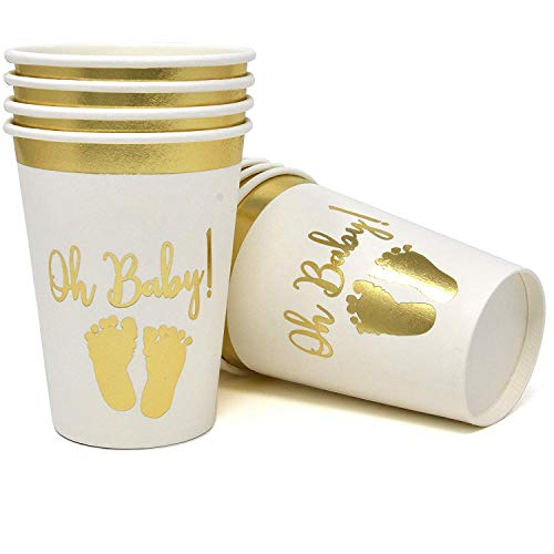 50 Baby Shower Cups 9 oz Paper Disposable for Boys or Girls Gold Foil and White Oh Baby with Baby -