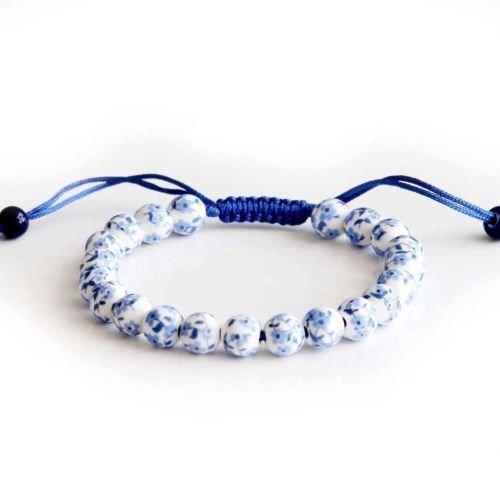 - Gozebra(TM) 8mm Hand Painted Blue Flower Porcelain Tibet Buddhist Prayer Beads Mala Bracelet