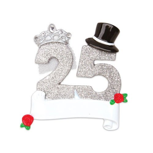 (Grantwood Technology Personalized Christmas Ornaments Couples- New 25TH Wedding Anniversary/Personalized by Santa / 25TH 25TH Anniversary)