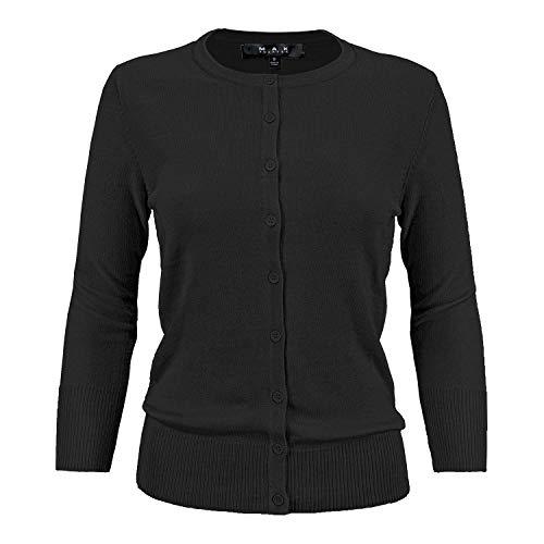 Women's Crewneck Button Down Knit Cardigan Sweater Vintage Inspired CO079-BLK-M Black