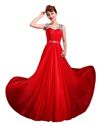 VogueZone009 Womens Sleeveless Straps Formal Dresses with Sewing Beads, Red, 16 by VogueZone009