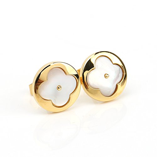 (Delicate Gold Tone Post Earrings with Contemporary Clover Design and Faux Mother-Of-Pearl Inlay)