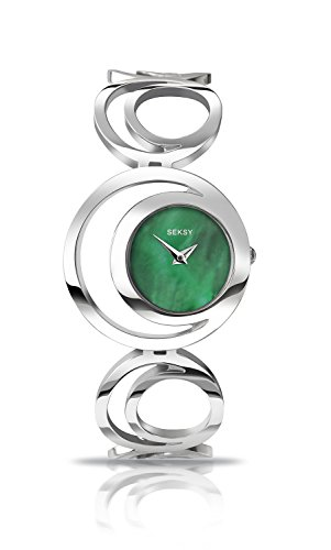 Seksy Women's Quartz Watch with Mother of Pearl Dial Analogue Display and Silver Stainless Steel Bracelet (Silver Dial Analogue Display)