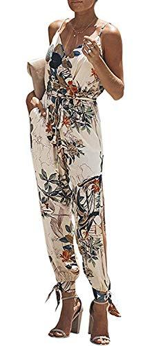 - Women's V Neck Floral Print Spaghetti Strap Split Beam Foot Jumpsuit Rompers (Color : Beige-F, Size : S)