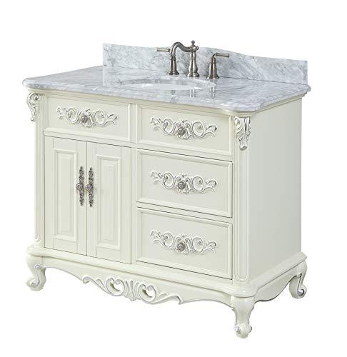 "42"" Benton Collection Verondia Antique Style Vanilla Beige Bathroom Vanity ()"