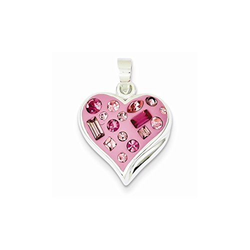 Heart Pink Ice - 925 Sterling Silver Pink Stellux Crystal Enameled Heart Pendant Charm Necklace Love Ful Fine Jewelry Gifts For Women For Her