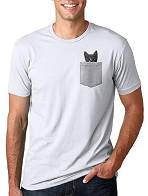 Mens Pocket Cat T Shirt Funny Cute Peeking Kitten Tee