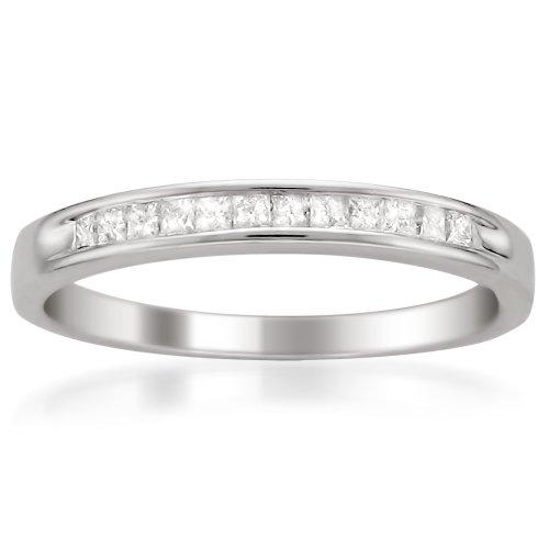 14k White Gold Princess-Cut Diamond Wedding Band (1/4cttw, I-J Color, I2-I3 Clarity), Size 7 ()