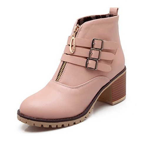 Velcro Boots Pink Strap Zipper Ring Imitated Metal BalaMasa Womens Leather Multilayer qRxPPS