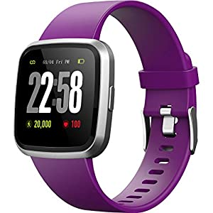 DSMART H4 Fitness Health 2in1 Smart Watch for Women with Activity Tracker All-Day Heart Rate Blood Pressure Sleep Monitor Touch Screen Waterproof Running Sports Watch Compare with Android & iOS