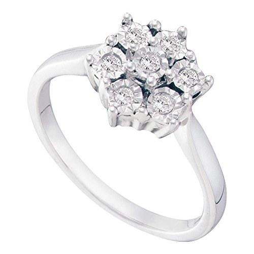 Sonia Jewels Size 7-925 Sterling Silver Round Diamond Illusion-Set Flower Cluster Ring (1/10 Cttw)
