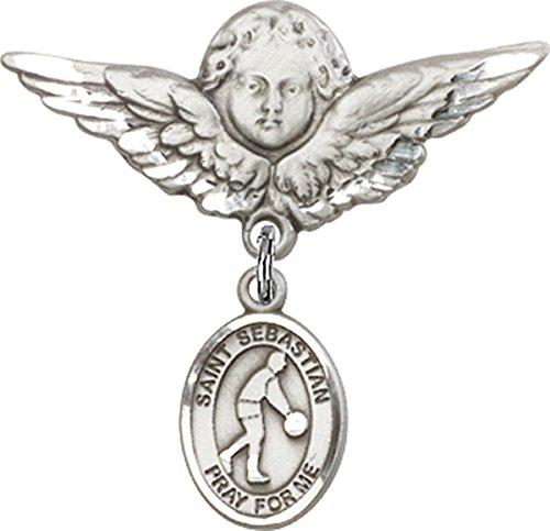Sterling Silver Baby Badge Guardian Angel Pin with Saint Sebastian Basketball Charm, 1 1/4 Inch ()