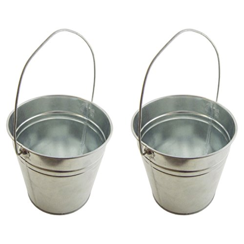 Set of 2-Galvanized Metal Pail Buckets Size: 6