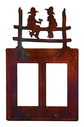 (Decorative Rustic Finish Steel Decora Rocker Style Light Switch Cover/Wall Plate - Double Switch, Kids on a Fence)
