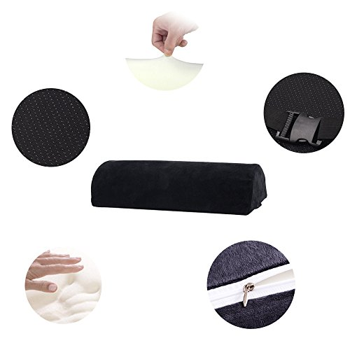 Memory Foam Bolster Pillows for Sleeping, Neck, Sciatica, Pregnancy, Legs, Knees Pain Relief Low Back Support for Office Chairs and Car Seats Semi Roll Pillow with Adjustable strap and Washable Cover by Qutool (Image #7)