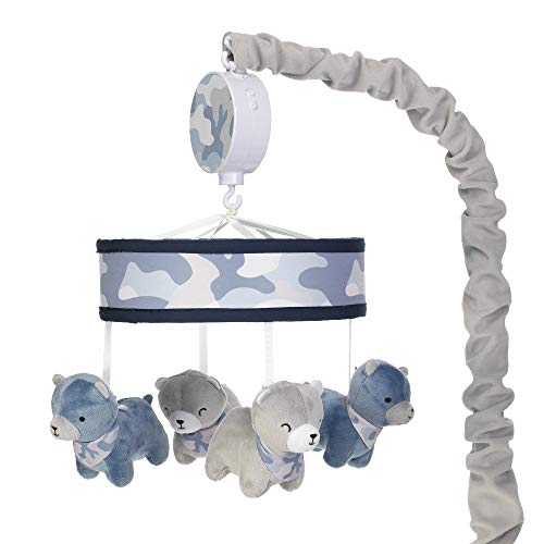 - Lambs & Ivy Blue Camo/Camouflage Gray Bear Musical Baby Crib Mobile Soother Toy