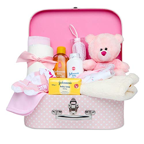 Newborn Baby Girl Gift Set - Keepsake Box in Pink with Baby Clothes, Teddy Bear and Gifts for a New...