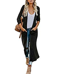 Women's Casual Solid Knit Long Open Front Lightweight Pocket Cardigan Sweaters