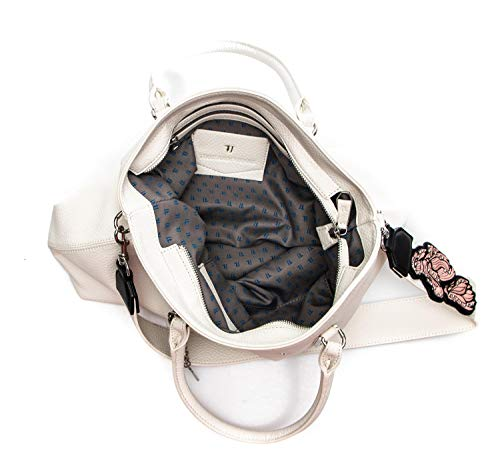 Ecoleather Bag White Smooth Carrie Shopping Borsa Donna Jeans Trussardi 8wqPIF00