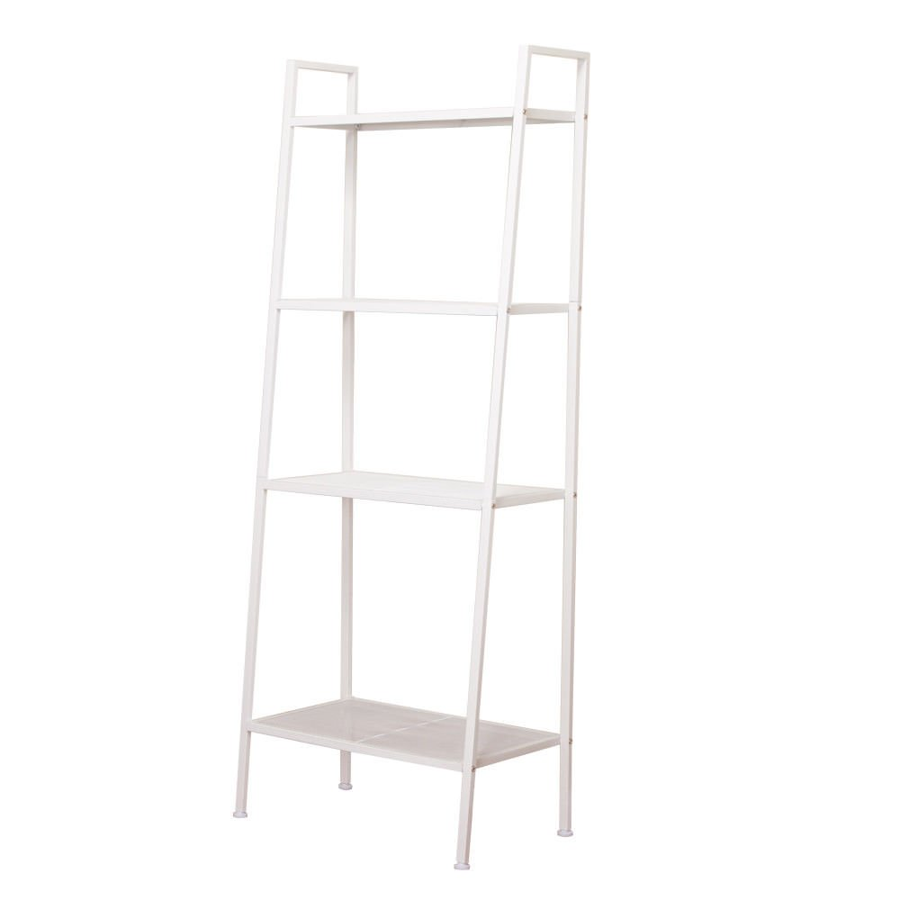 Globe House Products GHP 23.62''x13.78''x57.87'' Ivory White Iron 4-Tier Design Bookshelf Furniture w Foot Pads