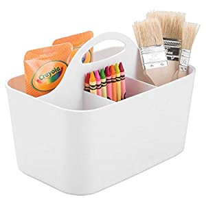 mDesign Plastic Portable Craft Storage Organizer Caddy Tote, Divided Basket Bin with Handle for Craft, Sewing, Art Supplies – Holds Paint Brushes, Colored Pencils, Stickers, Glue, Yarn – Small