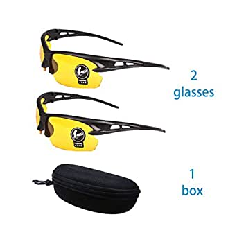 2 Pairs Sunglasses Anti Glare Non-Polarized Stylish Day+Night Glasses best for Outdoor Sports Protection Sports Driving