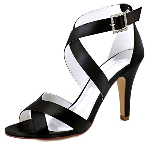 ElegantPark HP1705 Women High Heel Shoes Open Toe Cross Strap Satin Wedding Dress Sandals Black US 9