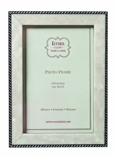 Eccolo Made in Italy Marquetry Wood Frame, Modern Anniversary, Holds a 4 x 6-Inch Photo - Anniversary Keepsake Tile